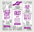 Vintage Fast Food Vertical Banners Royalty Free Stock Photo