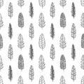 Vintage Feather seamless background. Hand drawn illustration pattern