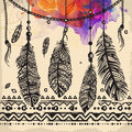 Vintage feathers ethnic pattern, tribal design, tattoo,  for fabric print Royalty Free Stock Photo
