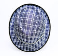 Vintage, felt trilby/fedora hat with plaid blue pattern on a white background. Royalty Free Stock Photo