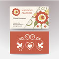 Vintage female template business card. Perfect for a wedding planner, florist, beauty salon. Vector business cards with Royalty Free Stock Photo