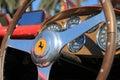 Vintage Ferrari racer steering wheel and cockpit Royalty Free Stock Photo
