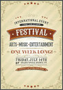 Vintage festival poster illustration of a design invitation with floral patterns sketched banners and grunge texture on striped Royalty Free Stock Image