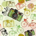 Vintage film camera and bicycles seamless pattern pastel colors Royalty Free Stock Images