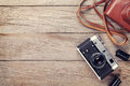 Vintage film camera with case Royalty Free Stock Photo