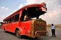 The vintage film city coaches a special coach which takes visitors around studios of ramoji of india which is largest integrated Royalty Free Stock Photo