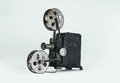 Vintage film projector a retro on a plain grey background Stock Photography