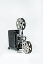 Vintage film projector a retro on a plain grey background Royalty Free Stock Photos