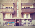 Vintage filtered picture of neglected tenement house Royalty Free Stock Image