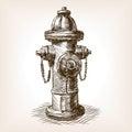 Vintage fire hydrant sketch vector illustration