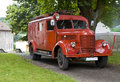 Vintage fire lorry old made by praga czech republic Royalty Free Stock Photos