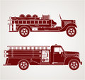 Vintage fire trucks profile art of retro stylized Royalty Free Stock Photos