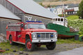 Vintage firefighters truck iceland siglufjordur not really brand new but still efficient to be used in the town s small harbour Stock Image