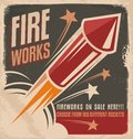 Vintage fireworks poster design retro flyer for rockets retailer Stock Photo