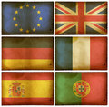Vintage flags set Europe Stock Photos