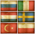 Vintage flags set Europe two Stock Images
