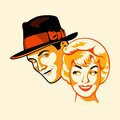 Vintage flirting couple three color print halftone pattern Royalty Free Stock Image