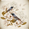 Vintage floral background with birds this is file of eps format Stock Images
