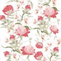 Vintage floral background. Elegance seamless pattern with peony Royalty Free Stock Photo