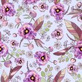 Vintage floral background. Elegance seamless pattern with watercolor flower pansy, peony, roses, eucalyptus leaves. Pink, purple Royalty Free Stock Photo