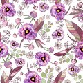 Vintage floral background. Elegance seamless pattern with watercolor flower peony, roses, eucalyptus leaves. Pink, purple blooming Royalty Free Stock Photo