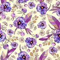 Vintage floral background. Elegance seamless pattern with watercolor flower peony Royalty Free Stock Photo