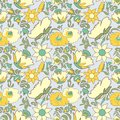 Vintage floral background Flowers folk art style Fabulous ethnic pattern light yellow color Doodles and Paisley Turkish cucumbers Royalty Free Stock Photo