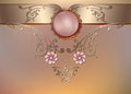 Vintage floral background with pearls and ornament Royalty Free Stock Photo