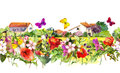 Vintage floral border - countryside houses. Watercolor summer flowers, butterflies. Seamless frame Royalty Free Stock Photo