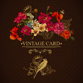 Vintage floral card with birds and butterflies vector design element Royalty Free Stock Photography