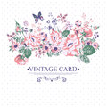 Vintage Floral Card with Butterflies. Royalty Free Stock Photo
