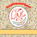 Vintage floral  card with colorful flowers.Love label Royalty Free Stock Photo