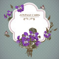 Vintage Floral Card with Violets and Butterflies Royalty Free Stock Photo