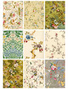 Vintage Floral collage sheet or tags Royalty Free Stock Photos