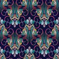 Vintage floral colorful seamless pattern. Dark blue vector background. Hand drawn