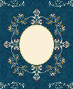 Vintage floral frame on damask background Royalty Free Stock Photos