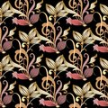 Vintage floral gold seamless pattern. Damask vector background. Royalty Free Stock Photo