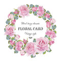 Vintage floral greeting card with a frame of watercolor roses.