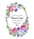 Vintage floral greeting card with watercolor roses and iris
