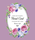 Vintage floral greeting card with watercolor roses and iris.