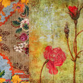 Vintage Floral Grunge Scrapbook Background Royalty Free Stock Photo