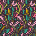 Vintage floral hand drawn seamless pattern. Hand drawn abstract fancy flowers. Folk painting style. Summer blooming