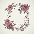 Vintage floral highly detailed hand drawn bouquet of flowers located in elliptical form frame.Retro banner, invitation, wedding ca Royalty Free Stock Photo