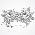 Vintage floral highly detailed hand drawn bouquet of flowers and ribbon banner in black and white. Victorian Motif, tattoo design