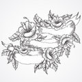 Vintage floral highly detailed hand drawn bouquet of flowers and ribbon banner in black and white. Victorian Motif, tattoo design Royalty Free Stock Photo