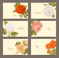 Vintage floral horizontal business cards set of six with roses hydrangea dog rose chrysanthemum and poppy on a beige Royalty Free Stock Photography