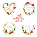 Vintage Floral Roses and Lily Tags, Labels and Banners Royalty Free Stock Photo