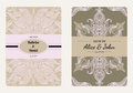 Vintage floral save the date or wedding invitation card collection. Retro vector romantic card template.
