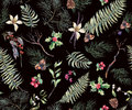 Vintage Floral Seamless Background with Fern Leaves Royalty Free Stock Photo