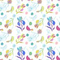 Vintage floral seamless pattern iris and birds with doodle flowers Royalty Free Stock Images